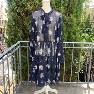New DKNY Floral Silk Dress Size M